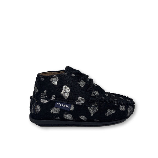 Atlanta Mocassin Black and Silver Pony Hair Dalmatian Bootie-Tassel Children Shoes