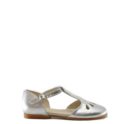 Sonatina Silver Leather T-Strap Cutout Mary Jane-Tassel Children Shoes