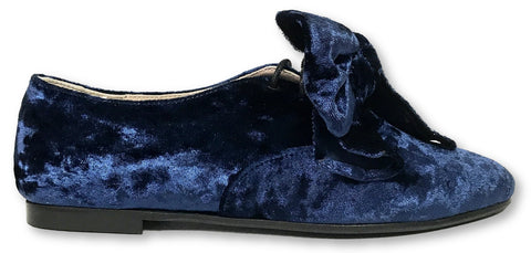 Beberlis Blue Velvet Oxford-Tassel Children Shoes