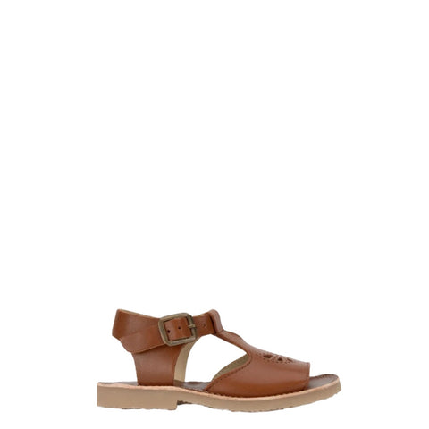 Young Soles Chestnut T-Strap Sandal-Tassel Children Shoes