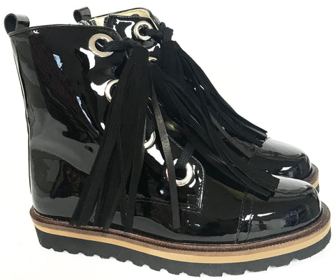 Confetti Black Patent Tassel Boot-Tassel Children Shoes