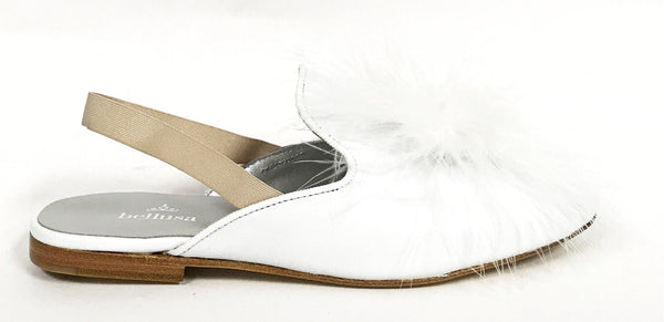 Bellusa White Slingback Slipper-Tassel Children Shoes