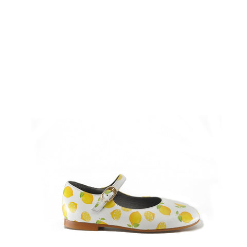 Blublonc Lemon Print Mary Jane-Tassel Children Shoes