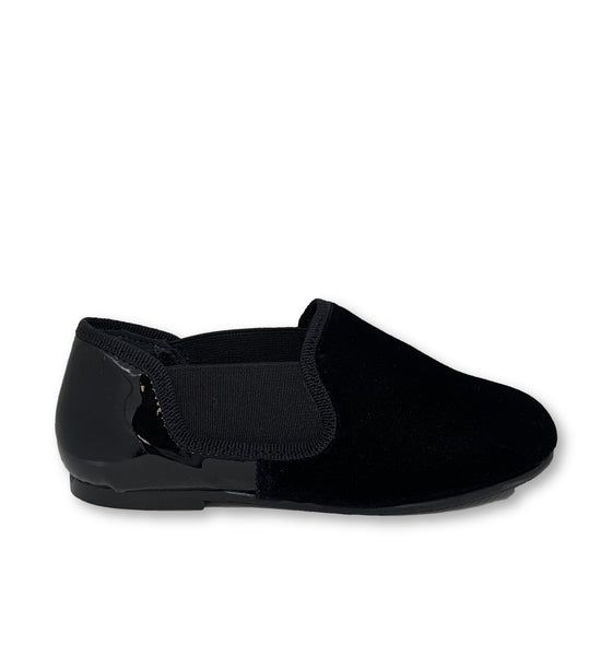 Blublonc Black Velvet and Patent Smoking Loafer-Tassel Children Shoes
