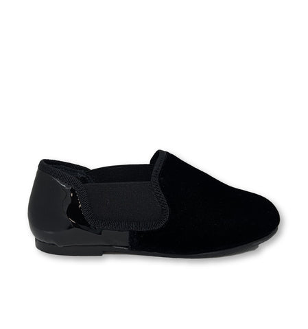 Blublonc Black Velvet and Patent Smoking Loafer