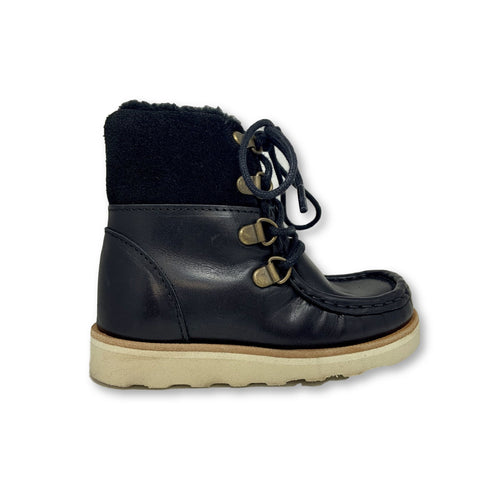 Young Soles Jimi Black Fur Lined Boot-Tassel Children Shoes