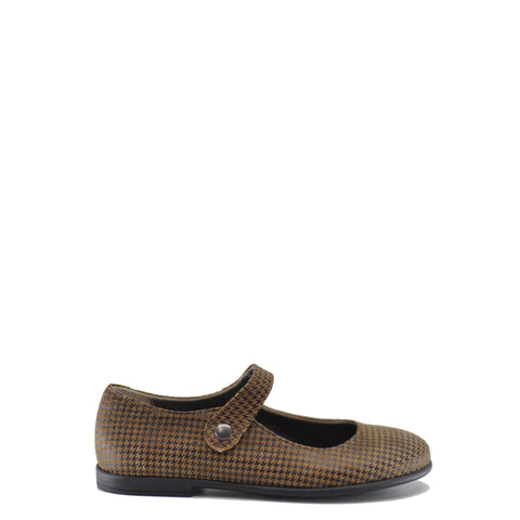 Pepe Brown Houndstooth Mary Jane-Tassel Children Shoes