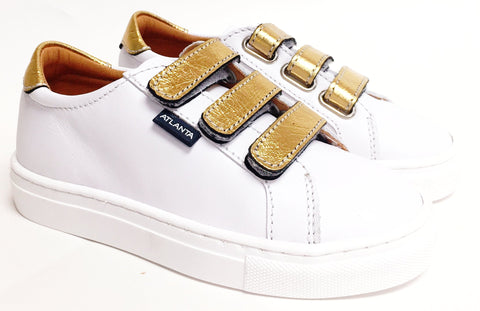 Atlanta Mocassin White/Gold Velcro Sneaker-Tassel Children Shoes