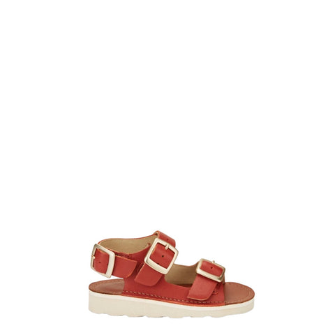 Young Soles Brick Leather Buckle Sandal-Tassel Children Shoes