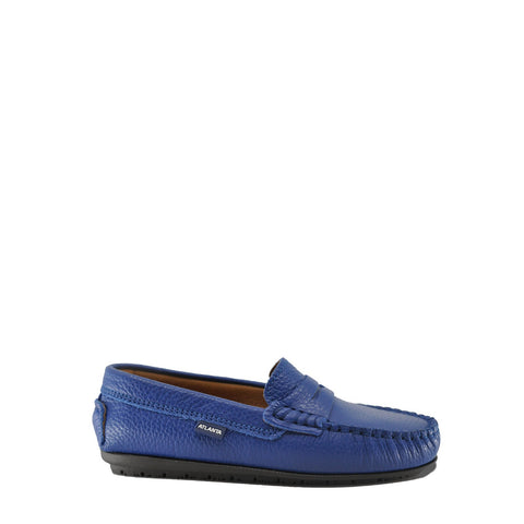 Atlanta Mocassin Cobalt Blue Pebbled Penny Loafer-Tassel Children Shoes