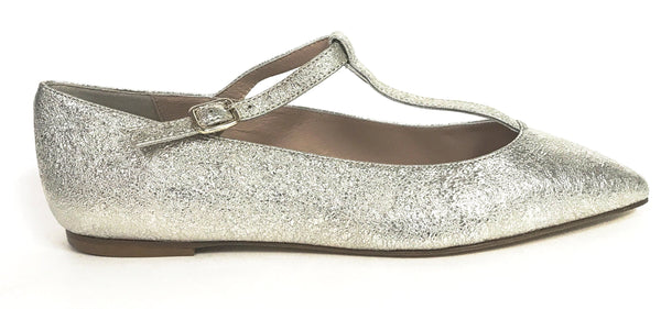 Marian Silver Crackle T-Strap-Tassel Children Shoes