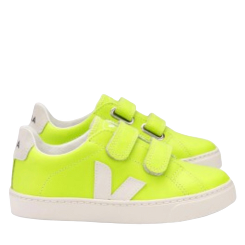 Veja Neon Yellow Velcro Sneaker-Tassel Children Shoes