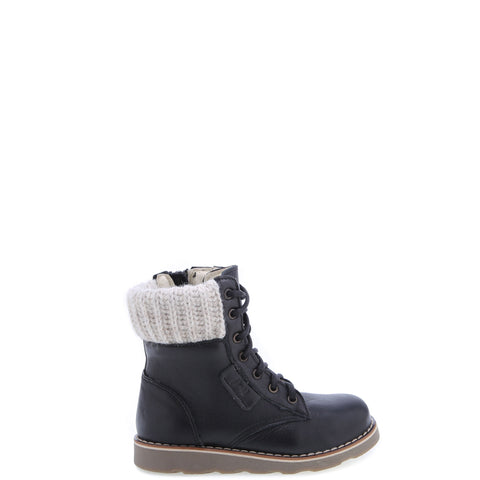Emel Black Leather Lace Up Boot-Tassel Children Shoes
