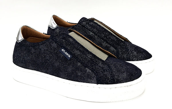 Atlanta Mocassin Navy/Silver Star Elastic Slip-on Sneaker-Tassel Children Shoes