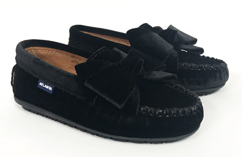 Atlanta Mocassin Black Velvet Bow Loafer-Tassel Children Shoes