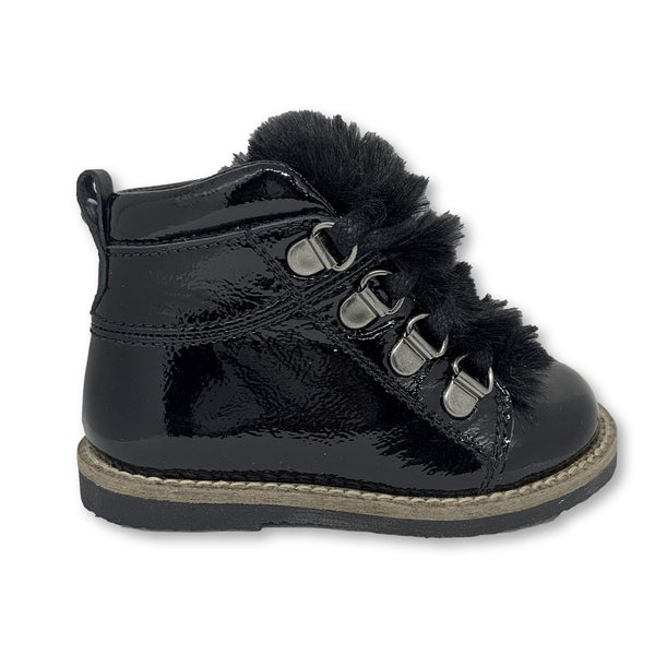 Manuela Black Patent Fur Bootie-Tassel Children Shoes