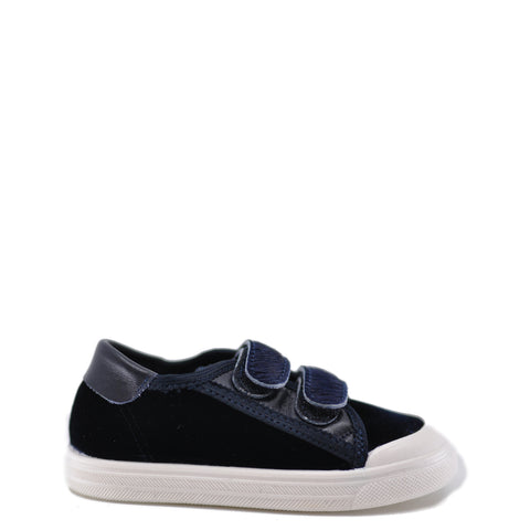 Pepe Navy Velvet and Pony Velcro Sneaker-Tassel Children Shoes