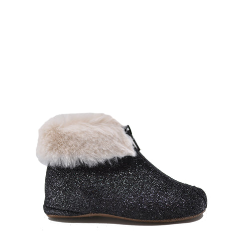 Pepe Black Glitter and Fur Zipper Bootie-Tassel Children Shoes