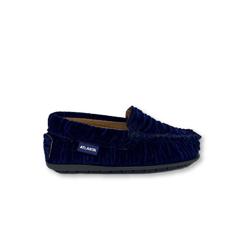 Atlanta Mocassin Navy Velvet Lined Loafer-Tassel Children Shoes
