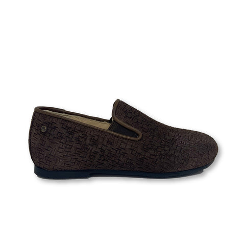 Manuela Brown Suede Textured Smoking Slipper-Tassel Children Shoes