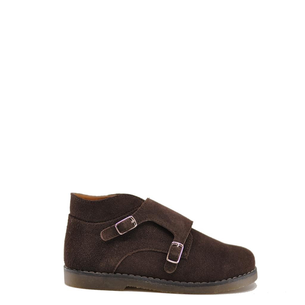 Babywalker Brown Suede Velcro Double Monk Bootie-Tassel Children Shoes