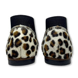 Emel Black and Leopard Pony Hair Elastic Bootie-Tassel Children Shoes