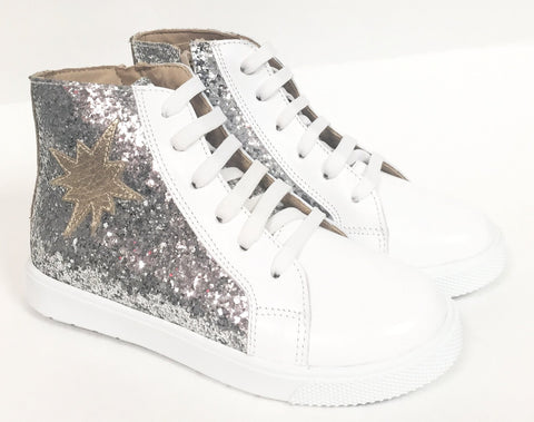 Elephantito Silver High Top Sneaker-Tassel Children Shoes