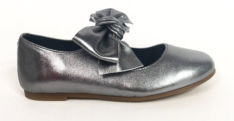 Blublonc Gunmetal Bow Ballet-Tassel Children Shoes