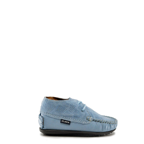 Atlanta Mocassin Sky Blue Textured Bootie-Tassel Children Shoes