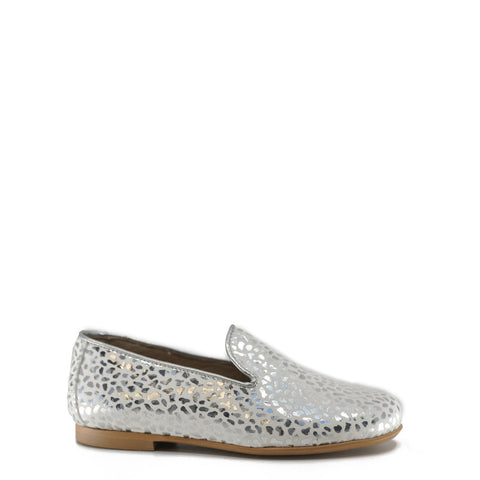 Hoo Silver Metallic Cheetah Smoking Loafer-Tassel Children Shoes