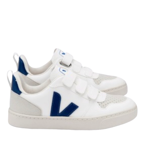 Veja Blue and White Triple Velcro Sneaker-Tassel Children Shoes