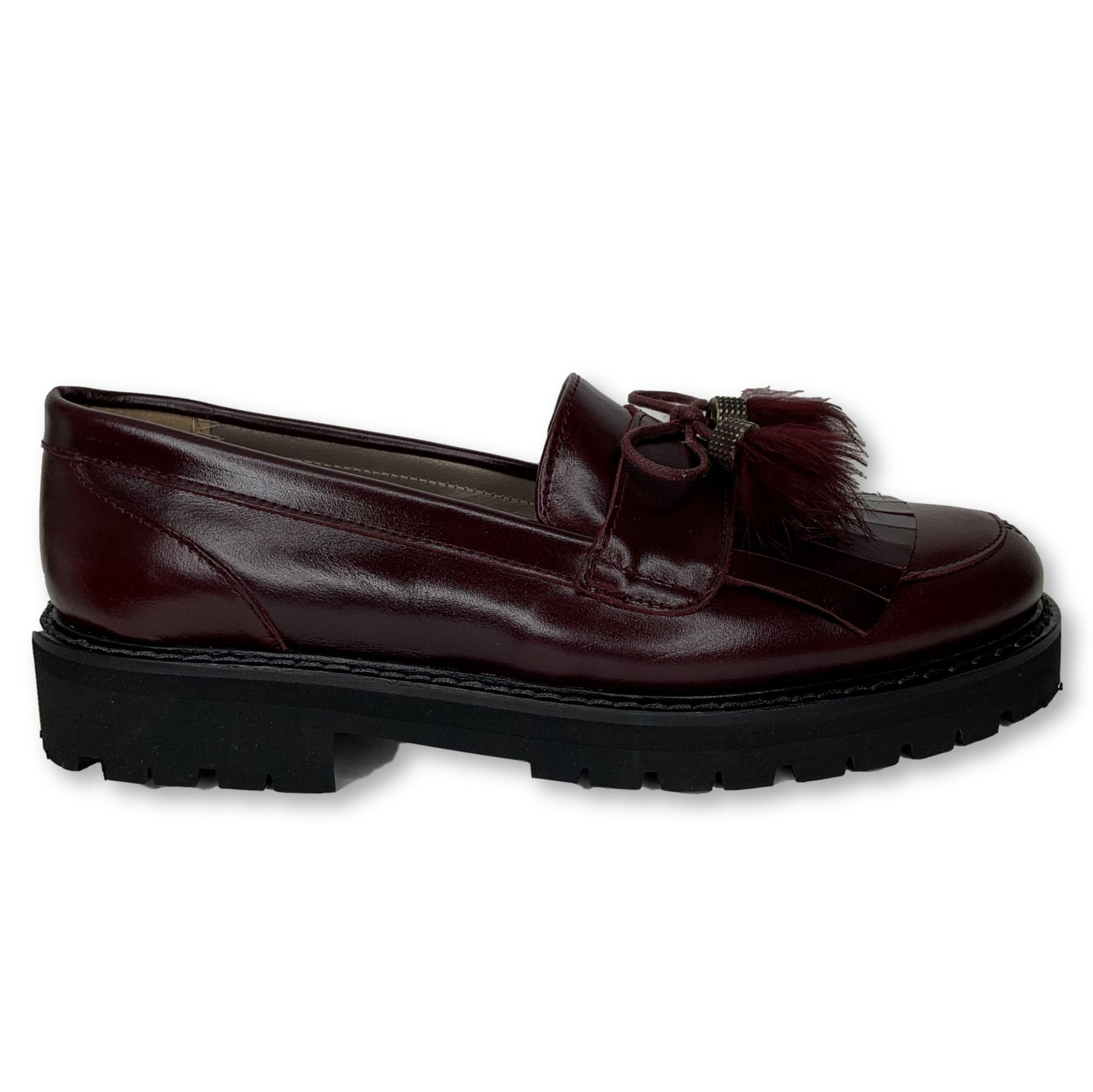 Papanatas Burgundy Tassel Oxford-Tassel Children Shoes