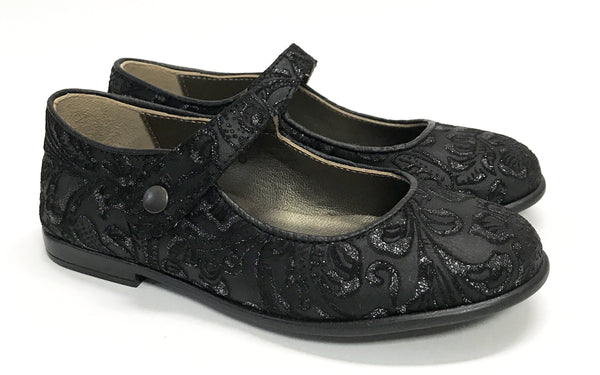 Pepe Black Floral Mary Jane-Tassel Children Shoes