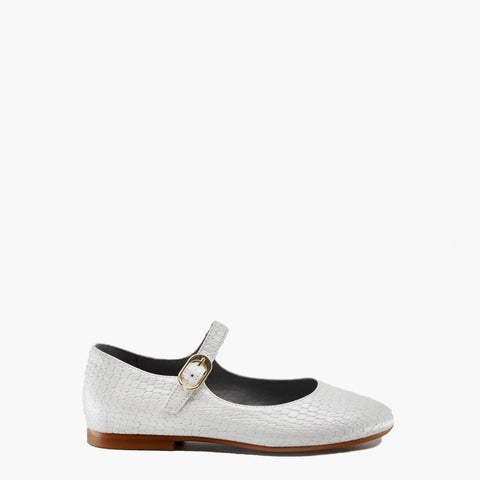 Blublonc White Textured Mary Jane-Tassel Children Shoes