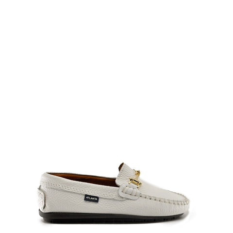 Atlanta Mocasson White Pebbled Buckle Loafer-Tassel Children Shoes