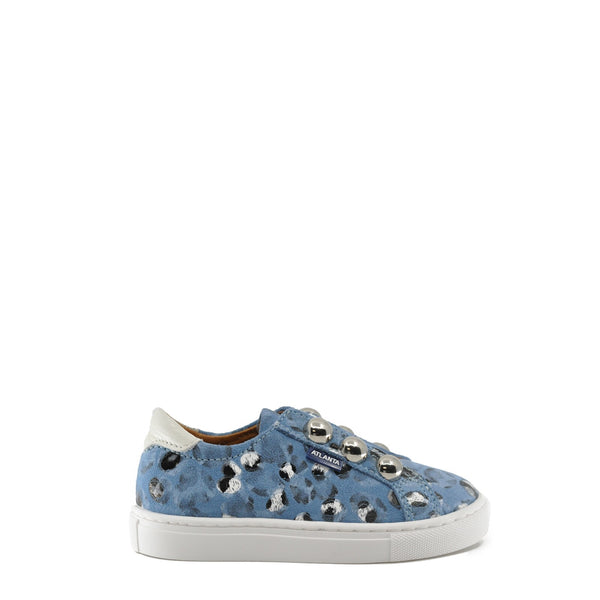 Atlanta Mocassin Blue Leopard Silver Dot Sneaker-Tassel Children Shoes