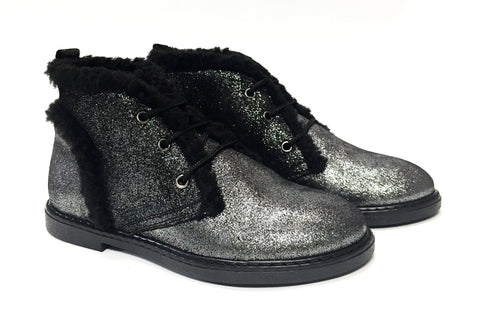 Blublonc Shimmer Fur Trim Bootie-Tassel Children Shoes