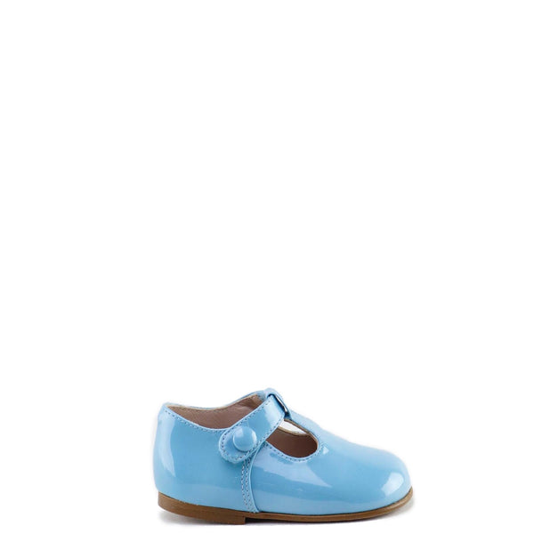 Papanatas Baby Blue Patent T-Strap Shoe-Tassel Children Shoes