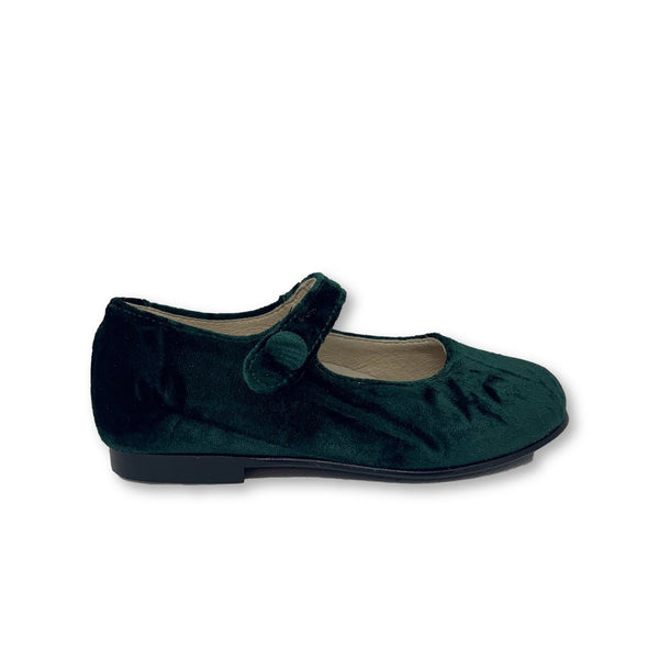 Hoo Green Crushed Velvet Mary Jane-Tassel Children Shoes