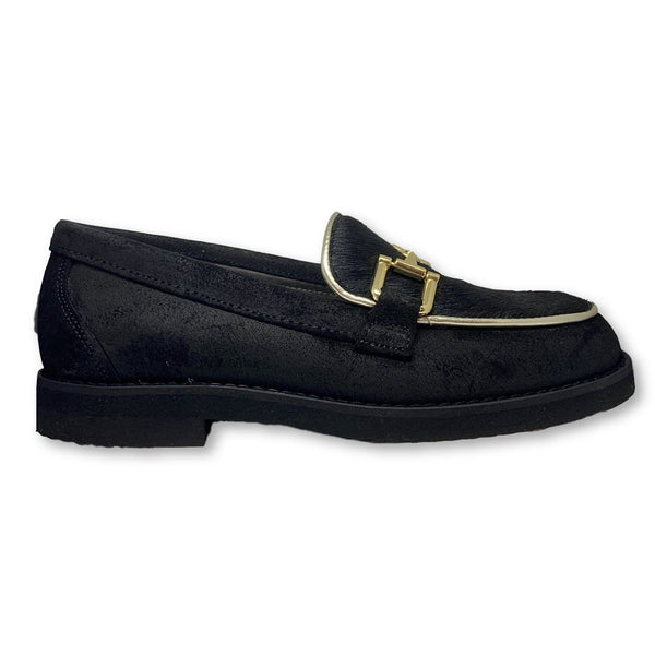 Blublonc Black Suede Gold Chain Loafer-Tassel Children Shoes