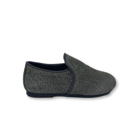 Manuela Gray Textured Suede Smoking Slipper-Tassel Children Shoes