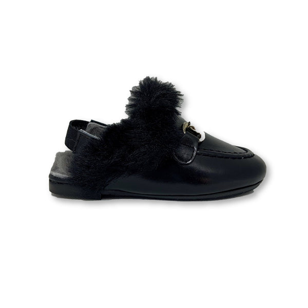 Papanatas Black Fur Mule-Tassel Children Shoes