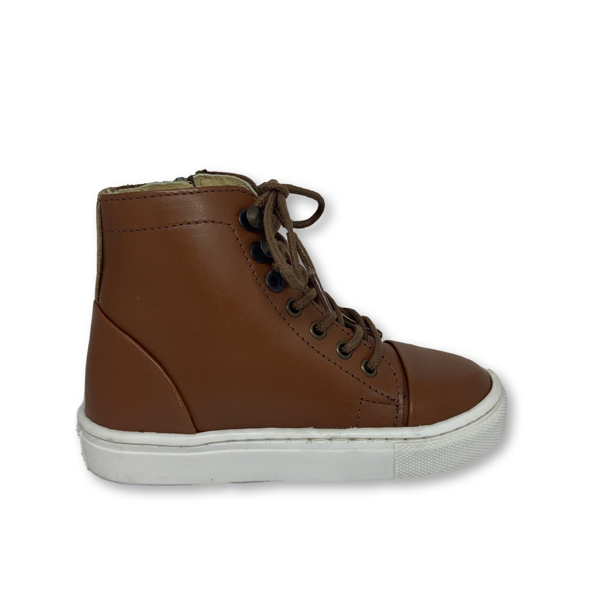 Young Soles Chestnut Brown High Top Sneaker-Tassel Children Shoes