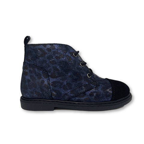 Blublonc Blue Leopard Lace Bootie-Tassel Children Shoes