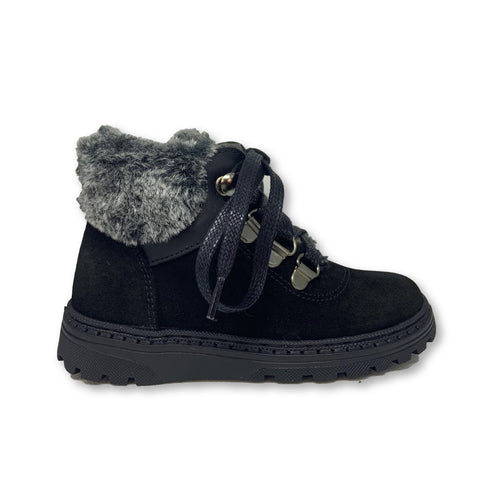 Blublonc Black Suede Fur Lace Zipper Bootie-Tassel Children Shoes