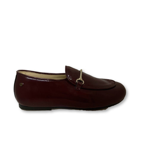 Manuela Burgundy Florentic Chain Loafer-Tassel Children Shoes