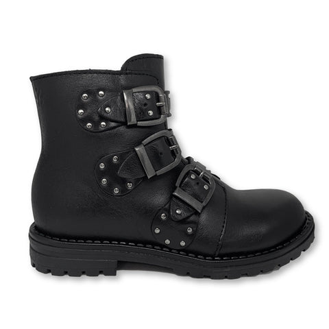 Acebos Black Studded Buckle Boot-Tassel Children Shoes