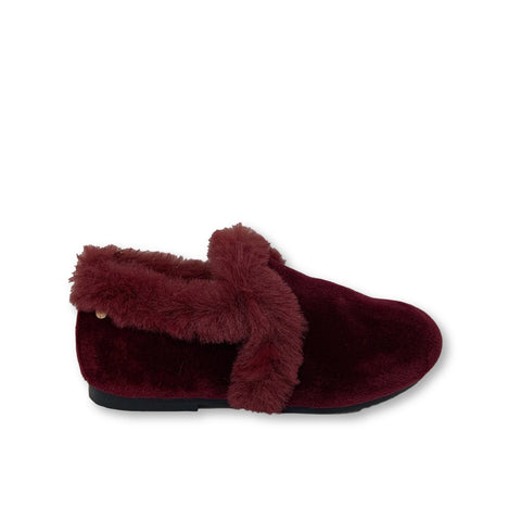 Manuela Burgundy Fur Smoking Loafer-Tassel Children Shoes