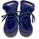 Atlanta Mocassin Navy Fur Lace Boot-Tassel Children Shoes