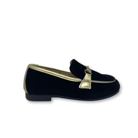 Hoo Black Velvet and Gold Chain Loafer-Tassel Children Shoes